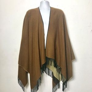 Accessories - Wrap Poncho Ruana Throw Fringed Earthtones OS
